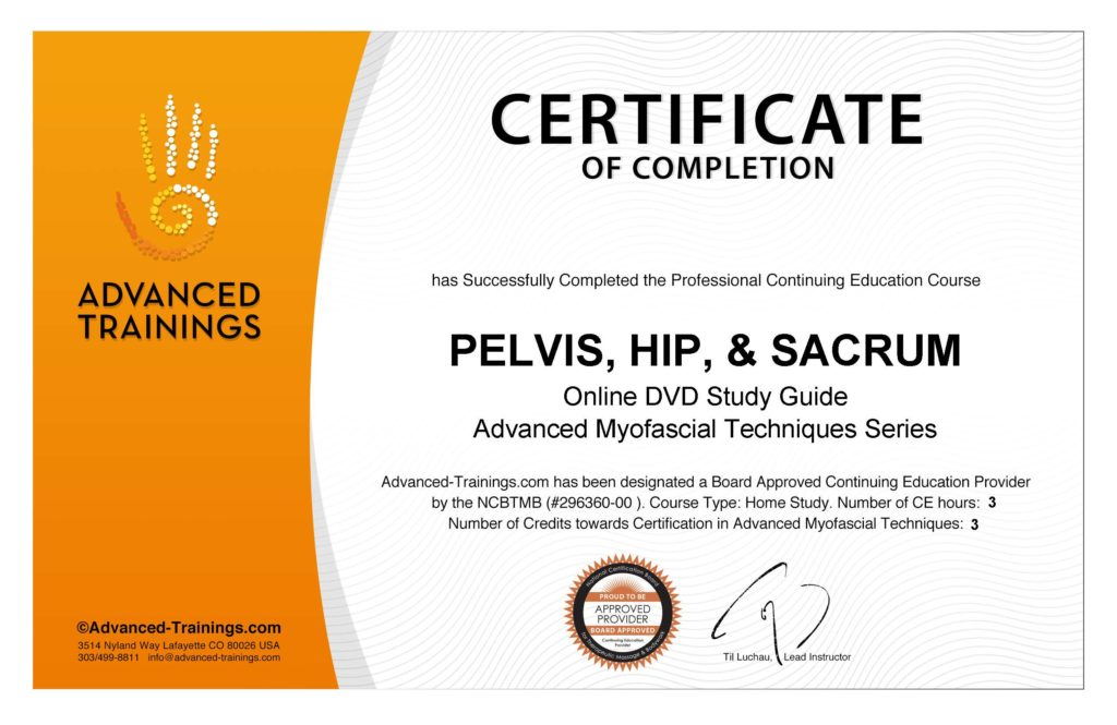 Certificate Ce Pelvis Hip Sacrum Advanced Myofascial